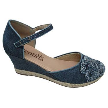 Sapato Feminino Anabela Floral Valentina 500126 Jeans