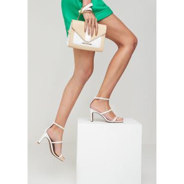 Sandália Salto Médio Lança Perfume Sandalia Branco  feminino