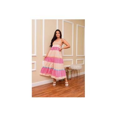 Vestido De Alça Longo Xadrez Colorido Com Elastano