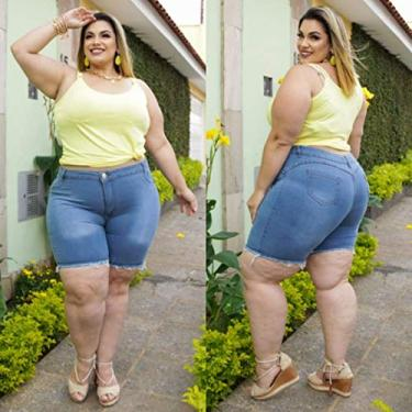 Kit Com 2 Shorts Jeans Feminino Plusize Cor:Azul;Tamanho:48