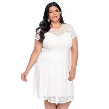 Vestido Plus Size Branco Renda Sofisticado-48