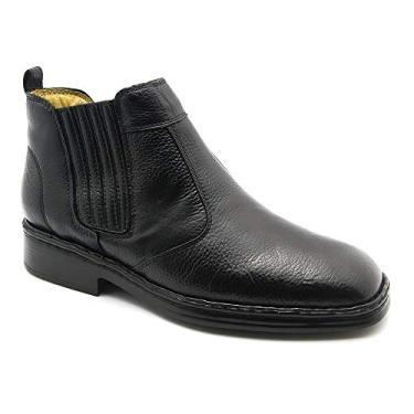 Botina Masculina 1000 em Couro Floater Preto Doctor Shoes-Preto-44