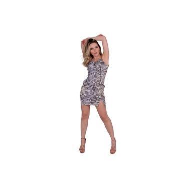 Vestido Miss Misses Tubinho com Estampa Cobra Cinza