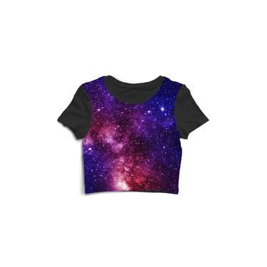 Blusa Blusinha Cropped Tshirt Camiseta Feminina Galáxia Espaço Alien Rolê