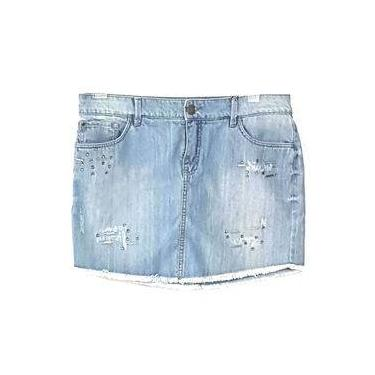 Saia Jeans Curta Desfiada com Pedraria Azul Scalon 264023