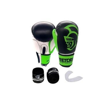 Imagem de Kit Luva de Boxe Pretorian Performance Verde e Preto + Bandagem + Protetor bucal
