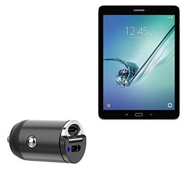 Carregador de carro BoxWave para Galaxy Tab S2 (9,7) [Mini carregador de carro PD duplo] rápido, 2 carregadores USB para Samsung Galaxy Tab S2 (9,7) – Preto