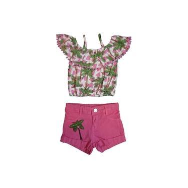 Conjunto Infantil Momi Blusa e Shorts Coconut Rosa F6895