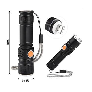 Mini Lanterna Tática Led AN-515 Potente Recarregável Via USB C Zoom