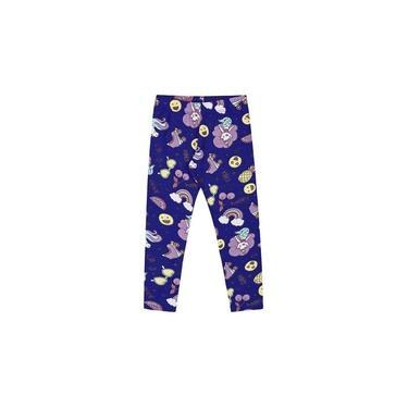 Calça Infantil Menina Legging Estampada Vibes Azul
