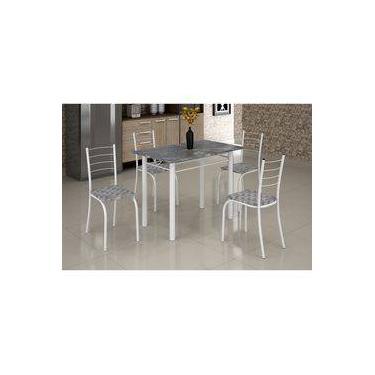 Mesa Rio 1,00 x 0,60 Branco Granito 4 Cadeiras