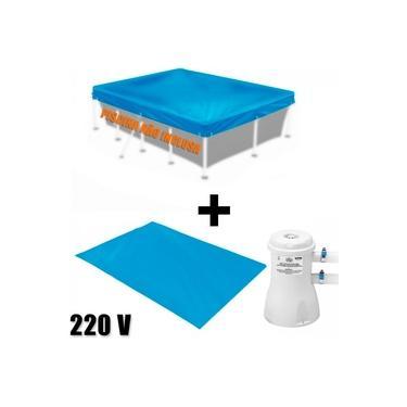 Capa + Forro para Piscina 3000 L Mor + Bomba Filtro 220v 2200 L/H