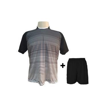 Imagem de Uniforme Esportivo com 18 camisas modelo City Preto/Branco + 18 calções modelo Madrid + 1 Goleiro +