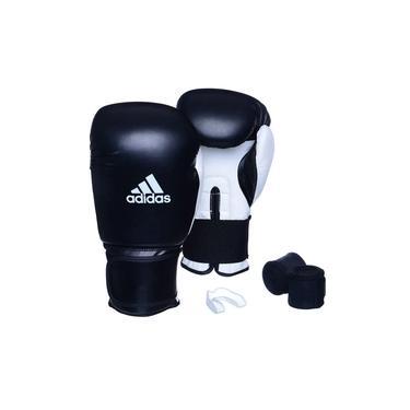 Kit Luva Adidas Power 100 Colors Preto/Branco com Bandagem Preto e Bucal Simples