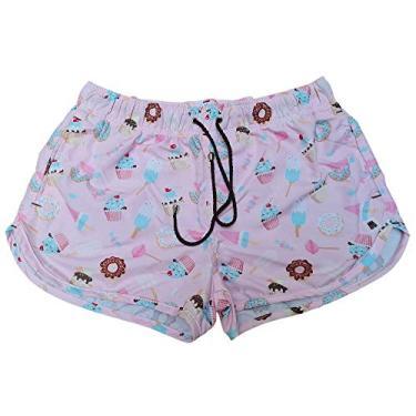 Shorts Fem Tactel Moda Praia Donuts Plus Size Tamanho: P; Cor: Rosa