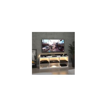 Imagem de Rack Bancada Video Game Madeira PS4 Branco Com Led Incluso