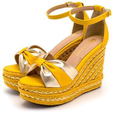 Imagem de Sandália Anabela Salto Alto Em Napa Amarelo Com Dourado Metalizado Lançamento  feminino