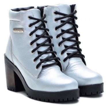 Imagem de Coturno Casual Atron Shoes Couro Feminino Zíper Conforto Prata 40