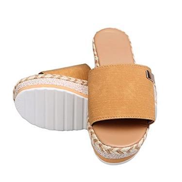 Imagem de Sandálias de salto alto de salto inclinado, chinelo de corda de cânhamo com sola grossa, sapatos femininos de verão de salto alto cruzado, sandálias femininas para uso ao ar livre (cor: amarelo, tamanho: 12)