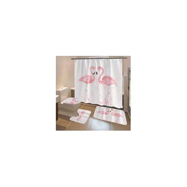 Imagem de 4 unidades / conjunto 3D Flamingo Conjunto de cortina de chuveiro impermeável à prova de mofo Antiderrapante 3 peças de capa de banheiro Tapete de banheiro Decoração de banheiro com 12 ganchos