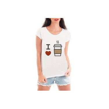Camiseta Blusa T shirt Bata Criativa Urbana I love Café Coffee