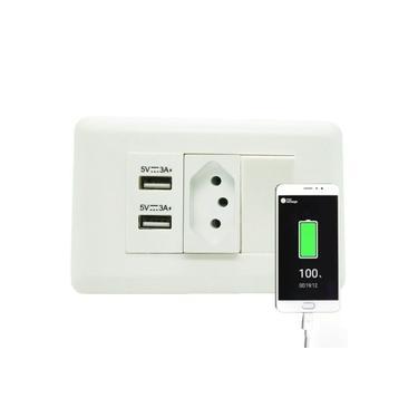 Tomada Interruptor e 2 Entradas USB Universal Celular (888643)
