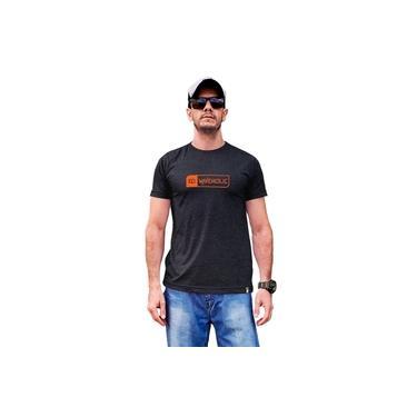 Camiseta masculina sustentável Waveholic preto mescla grafite logo laranja