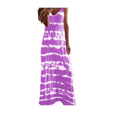 SAFTYBAY Vestido maxi feminino boêmio, vestido longo sem mangas, estilo tie dye, casual, solto, decote em V, vestido de praia rodado, Roxa, L
