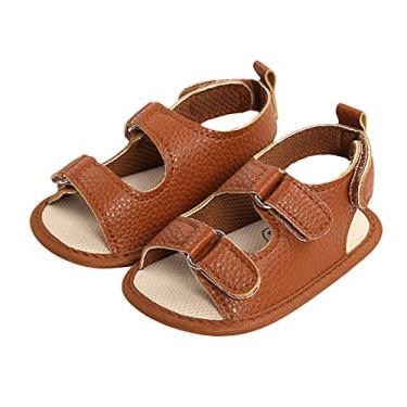 Imagem de Sandálias de couro para bebês meninos e meninas, sola antiderrapante, cor lisa, sapatilhas, primeira caminhada, sola macia, chinelos casuais para praia, Marrom, 6-12 meses