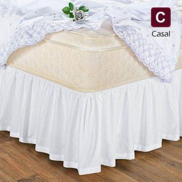 Imagem de Saia Box Cama Casal Com Elástico Branca - Branca - Vivart