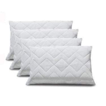 Imagem de Kit 4 Protetor De Travesseiro Impermeável Em Matelassê 100% Algodão 50