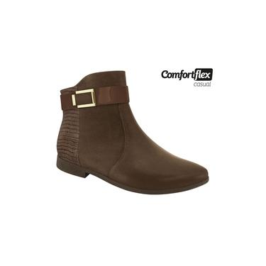 Bota Feminina Comfortflex preta salto baixo Ankle Boot
