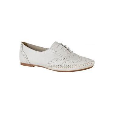 Imagem de Sapato Feminino Oxford Couro Legítimo Linha Conforto L.A. Branco