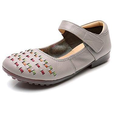 Odema Sapato feminino Mary Jane plano com gancho e tira no tornozelo, Cinza, 7.5
