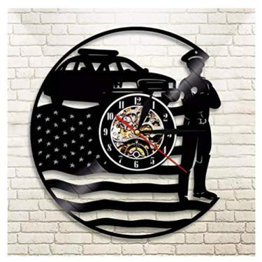 Imagem de Bandeira de relógio de vinil com tema de música e presentes de polícia, ideia para amantes de música, homens, mulheres, adolescentes e crianças, arte com tema vintage exclusivo, preta, 30 cm
