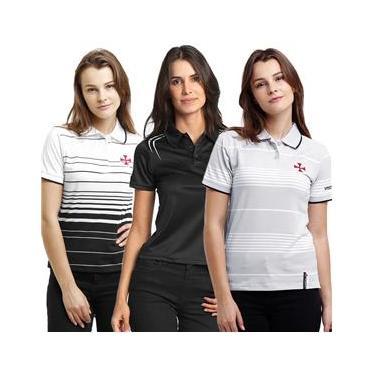 Kit - C/ 3 Camisa -s Polo Femininas Baby Look Vasco da Gama Algodão + Poliéster
