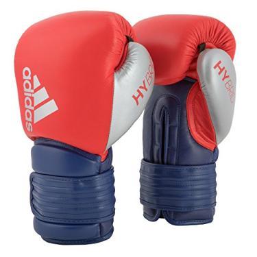 Luva de Boxe Adidas Hybrid 300 - Vermelho e Azul - Couro-10oz