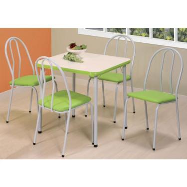 Imagem de Conjunto de Mesa com 4 Cadeiras Zuka Branco e verde