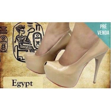 Sandália Meia Pata Salto Alto Fino Nude Bege Verniz Egípcio