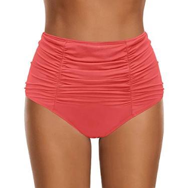 Calcinha tanquíni feminina de cintura alta com franzido e calcinha de banho da Grafent, E #825-10# Coral, X-Large