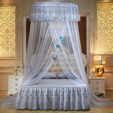 Cortina redonda para cama redonda Mengersi, com mosquiteiro para cama, com borboletas decorativas, para camas de solteiro, de casal, queen size e king size