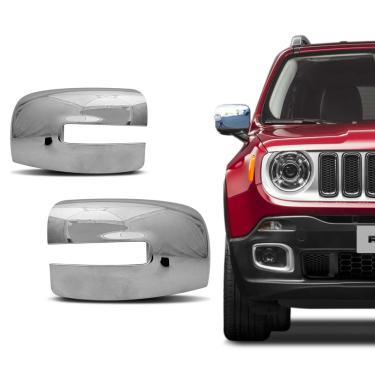 Aplique Retrovisor Cromado Jeep Renegade 2015 a 2019 Dupla Face Lado Esquerdo Motorista