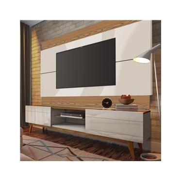 Rack e Painel Imcal Classic 180cm Para Tv Até 60` Com Pés Em Madeira Maciça ? Off White/freijó