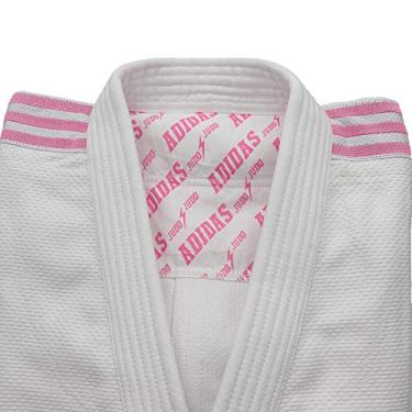 Kimono Judô Adidas Quest J690 Branco com Faixas Bordadas em Rosa (2, 170 cm)