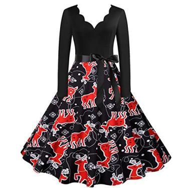 ZEFOTIM Vestido de Halloween Natal 2020, vestido feminino vintage de manga comprida anos 50 para dona de casa para festa noturna, Christmas#14, Large