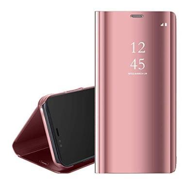 Ffish Capa flip para Samsung Galaxy S21 Ultra 6,8 polegadas, capa espelhada S-View ultrafina com suporte - ouro rosa
