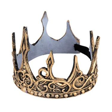 Imagem de FENICAL Coroa dourada retrô macia príncipe coroa PU tiara medieval para cosplay fantasia festa Halloween