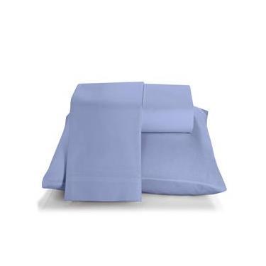 Imagem de Jogo de cama duplo queen 150 fios linha Prata liso na cor azul - Santista