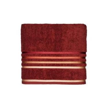 Imagem de Toalha de rosto linha Lumina cor ferrugem com barra vermelha 50x80 - Karsten