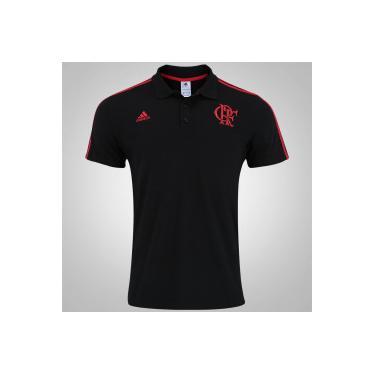 Camisa Polo do Flamengo 3S adidas - Masculina - PRETO VERMELHO adidas 484d3f5cf9611